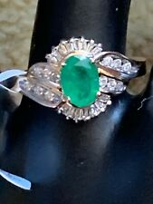 Large Emerald And Diamonds Cluster,  14 ct yellow gold ring. Zales Designer.