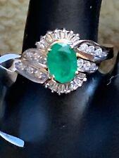 Genuine Emerald And Diamonds, 14 ct yellow gold ring. Zales Designer Signed.
