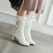 Women Block Heels Lolita Lace Up Ankle Boots Cute Bows Round Toe Boots Zip Shoes