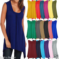 Womens Girls Plain Hanky Hem Vest Cami Top Long Flared Swing Top Plus Sizes 8-26