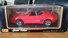 """Diecast 1:18 Red Mustang Mach 111 Convertible Over 10"""" Long Perfect & Boxed"""