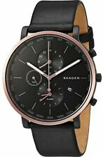 "Skagen Men's SKW6300 ""HAGEN"" World Time Alarm Black Rose Gold Leather Watch"