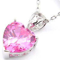 Love Heart Natural Shiny Pink Fire Topaz Silver Necklace Pendant With Chain