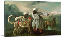 A Cheetah and Stag with Two Indian Attendants Canvas Art Print by George Stubbs