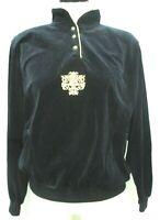 Catalina Vintage black Velveteen Velour pullover top sweater Size Sz Medium Md M