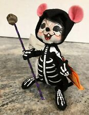 "ANNALEE 6"" Halloween Spooky Skeleton Mouse Skull Staff Trick Treat Figurine New"