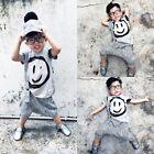 Cotton Kids Boys Short Sleeve Tops T-shirt +Harem Pants Outfits Clothes Set 2-7Y