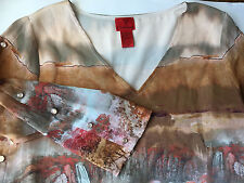 V Cristina Women's TunicTop Blouse Shirt Size M Career Scenery 3/4 Sleeve