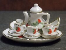 Dollhouse Miniature Tea Set Strawberry 12pc Teapot Cups 1:12 inch scale A46