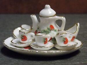 Dollhouse Miniature Tea Set Strawberry 12pc Teapot Cups 1:12 inch scale A46