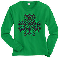 Threadrock Women's Celtic Shamrock Long Sleeve T-shirt Irish Pride St Patrick's