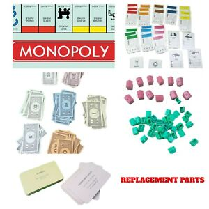Monopoly Spare Replacement Parts Tokens Cards Money Mortgage Cards Houses Hotels