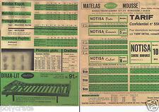 Publicité ancienne _ Notisa _ Matelas en mousse _ Tarifs et grille produit 1967