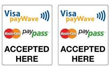 Paywave Paypass Mastercard Visa Stickers 2 pack water & fade proof 100mm x 120mm