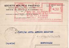 #ASCOLI PICENO: testatina-1934 SOC. MOLINI E PASTIFICI- ANNULLO ROSSO IN ABB...