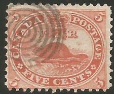 CANADA #15 - 1859 5c Vermillion Used