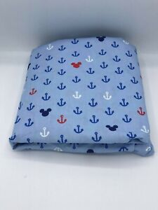 """Disney Mickey Mouse Baby Fitted Crib Sheet   Anchors  52"""" x 28"""" SEE DETAILS 👓"""