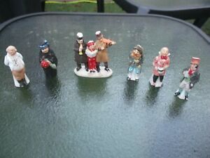 Six Antique Bisque Dickens Characters Christmas Cake Decorations c1900