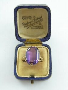 LOVELY ANTIQUE VICTORIAN LARGE STATEMENT GOLD & AMETHYST RING SIZE Q