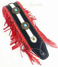"Dual Synthetic & Genuine Leather Soft Padded ""MEDALLION WARRIOR"" Guitar Strap"