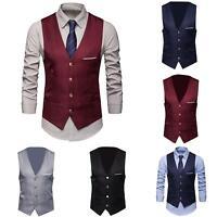 KQ_ Men Formal Business Suit Vest Slim Wedding Waistcoat Button Jacket Coat Surp