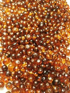 50 grams Raw Natural Baltic Amber Loose Semi Rounded Cherry Color Beads