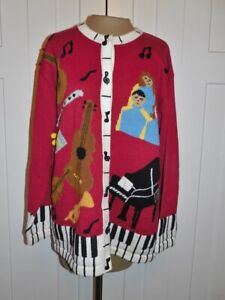 STORYBOOK KNITS Red Music Theme Cotton Blend Cardigan Sweater - L