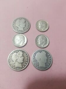 Old US Coin Lot #148 90% Silver 1900 Barber Quarter Dollar 6 coins total