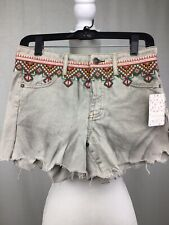 People Womens Beige Embroidered Frayed Hem Denim Shorts 28 BHFO 1008