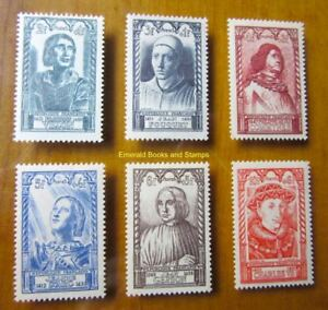 EBS France 1946 - Celebrities of the 15th Century - YT 765-770 MNH** cv $20.00