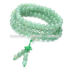Men's Green Aventurine Bracelet Wrist Necklace Buddhist Beads Paryer Mala Cuff