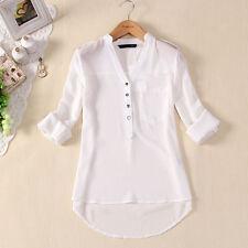 Formal Women Blouse Spring Summer V-Neck Chiffon Shirt Long Sleeve Casual Blouse