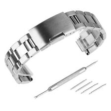 Black Silver Brushed&Polished Stainless Steel Link Watch Band Kit Strap Bracelet