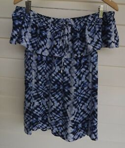 Just Jeans Size 10 - Women's Blue Black White Off-the-Shoulder Top