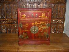 Meuble d'appoint chinois en cuir rouge 2 portes, 1 tiroir (H 61 cm) comme NEUF