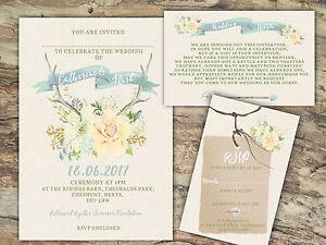 PERSONALISED RUSTIC WATERCOLOUR PASTEL FLORAL ANTLER WEDDING INVITATIONS 10'S