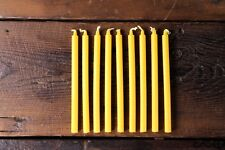 Set of 9 Thin Short Yellow Small Candles Dinner Food Table 13cm 8mm Wide Bistro