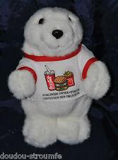 Peluche Doudou Ours Blanc COCA COLA 1996 Tee Shirt Imprimés 25 Cm TTBE