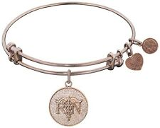 "Adjustable Pink Stipple Finish Brass ""Registered Nurse"" Angelica Bangle Bracelet"