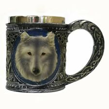 NEW Stainless Steel 3D Wolf Head Drinking Mug Beer Tankard Resin Lining Wine Cup