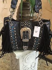 Western Cow Girl Tooled Concealed Carry Shoulder Handbag / Purse Black Fringes