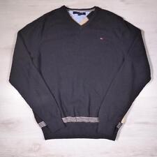 Mens TOMMY HILFIGER Black Wool Argyle Jumper Sweater Medium #A3378