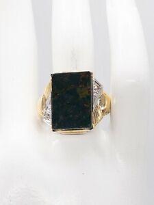Antique 1930s 12ct Bloodstone Gem Diamond 10k Yellow Gold Mens Ring Band