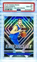 PSA 10 RC Luka Doncic 2018-19 Panini Prizm Emergent SILVER PRIZM #3 Rookie Holo