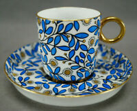 Brown Westhead Moore K465 Hand Painted Gold & Blue Floral Demitasse Cup & Saucer