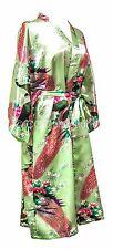 Kimono Bata Sexy Japonesa Peluche Pavo Real Lingerie Bata Verde luz menta