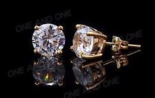 2 ct tw 14K Yellow Gold AAA D-Flawless CZ Stud Earrings SPARKLING
