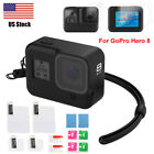 For GoPro Hero 8 Black Silicone Case Shockproof Protective Tempered Glass Screen