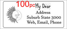100 Personalised return address label wedding sticker 56x25mm sun moon kissing