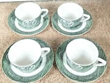 Set of 4 The Old Curiosity Shop Green Transferware Royal China Cup and Saucer